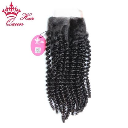 "Photo de Queen Hair Products Kinky Curly Brazilian Virgin Human Hair 3.5""*4"" Lace Closure 8""-20"" Middle Part Closure DHL Free Shipping"