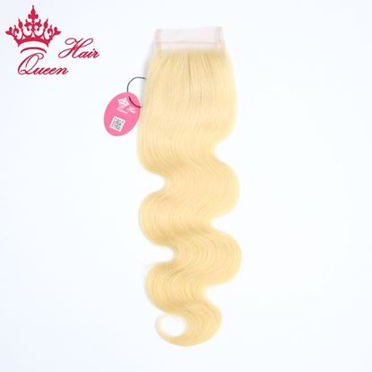 "Picture of Queen Hair Products 8""-18"" Body Wave Brazilian Virgin Human Hair Lace Closure Color #613 Blone Hair DHL Free Shipping"