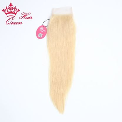"""Photo de Queen Hair Lace Closure Brazilian Hair Straight Human Virgin Hair 8""""-18"""" Top Closure Free Part Bleached Knots DHL Free Shipping"""
