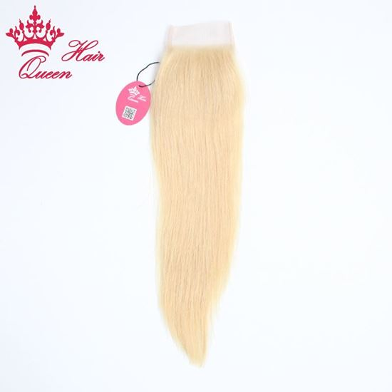 """Picture of Queen Hair Lace Closure Brazilian Hair Straight Human Virgin Hair 8""""-18"""" Top Closure Free Part Bleached Knots DHL Free Shipping"""