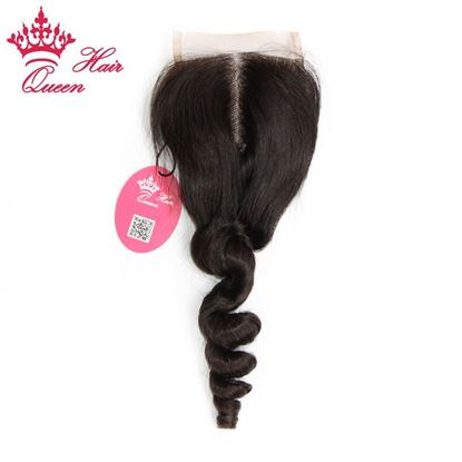 "Picture of Queen Hair Products Closure Unprocessed Brazilian Middle Part Loose Wave 3.5""x4"" Lace Closure 8""-20"" in Stock DHL Free Shipping"