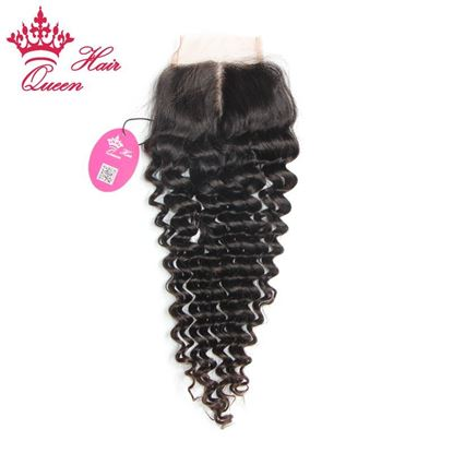 "Picture of Queen Hair Products 8""- 18"" Lace Closure Hair Lace Top Closure Swiss Lace 3.5""*4"" Deep Wave Middle Part Shedding Tangle Free"