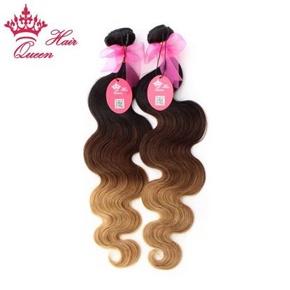 Picture of Queen Hair Products Ombre Hair Extensions Brazilian Virgin Hair Body Wave Three Tone Color #1b #4 #27 Ombre Human Hair Weaves