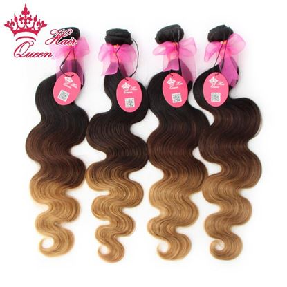 Picture of Queen Hair Products New Arrival Ombre Color 1b/#4/#27 Three Tone Virgin Brazilian Hair Body Wave Ombre Hair Extensions