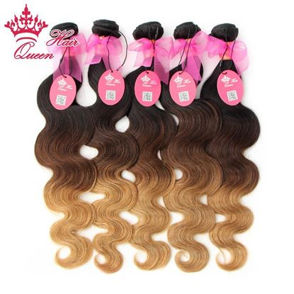Picture of Queen Hair Products Brazilian Ombre Hair Extensions Brazilian Virgin Hair Body Wave #1B/#4/27 5Bundles Three Tone Human Hair