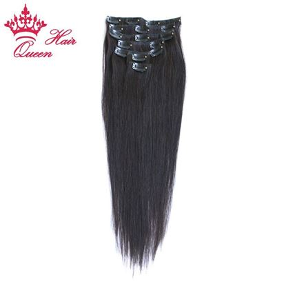 Picture of Queen Hair Brazilian Virgin Hair Straight Clip In Hair Extensions,7Pcs/set,18-22 Inch in Stock,Natural Color 1B DHL Free