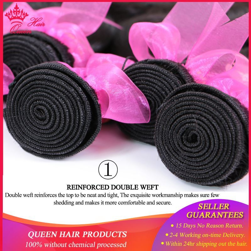 """Picture of Queen Hair Products Brazilian Body Wave Hair 4pcs/lot Bundles Deal Human Hair Extentions Hair weft Natural Color 8""""-28"""" In Stock"""