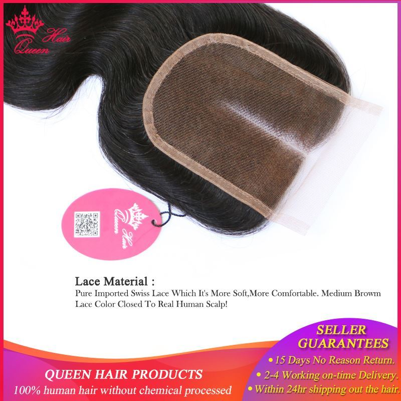 Picture of Queen Hair Products Swiss Lace Closure 4x4 Brazilian Virgin Human Hair Middle Part Body Wave 130% density Free Shipping