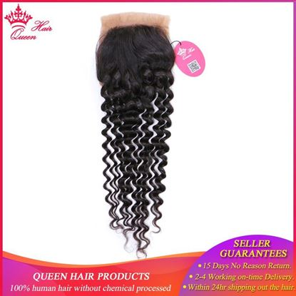 "Picture of Queen Hair Products Brazilian Virgin Hair Deep Wave Silk Base Closure 100% Human Hair 3.5""*4"" Swiss Lace Natural Color"