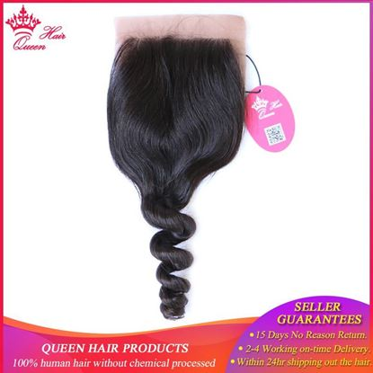 Picture of Queen Hair Products Silk Base Closure Brazilian Virgin Hair Loose Wave 100% Human Hair Swiss Lace Natural Color