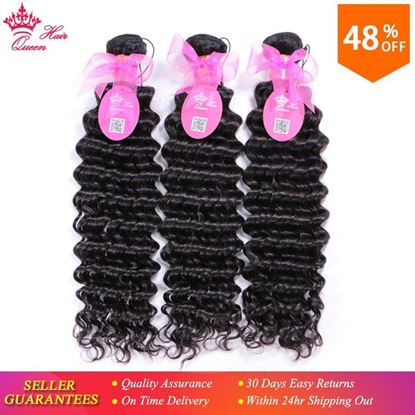 Photo de Queen Hair Products Brazilian Deep Wave Bundles Deal 3pcs/lot Natural Color 1B Hair Weave 100% Human Hair Weaving