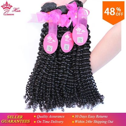Picture of Queen Hair Products Brazilian Kinky Curly Virgin Hair Afro Kinky Curly Unprocessed Human Hair Weave Extension Weft 3pcs/Lot DHL Free Shipping