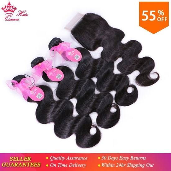 Picture of Brazilian Hair Weave Bundles with Closure Body Wave Hair Extension 4pcs/lot Virgin Human Hair weaving Queen Hair Products