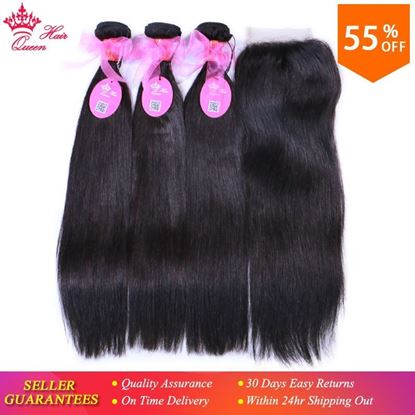 Picture of Queen Hair Products 100% Human Hair Brazilian Straight 3 Bundles With Closure virgin Hair Extensions Natural color Lace Closure