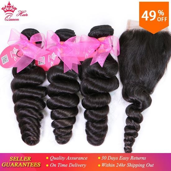 Picture of Queen Hair Products Brazilian Loose Wave Bundles with Closure 100% Human Hair 3 Bundles With Lace Closure Fast Free Shipping