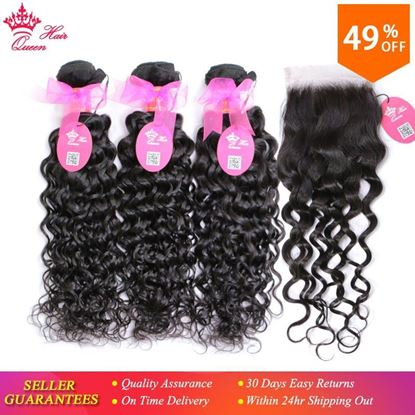 Picture of Queen Hair Brazilian Hair Weave Bundles With Lace Closure Virgin Human Hair 3 Bundle Deal With Closure Water Wave Bundles