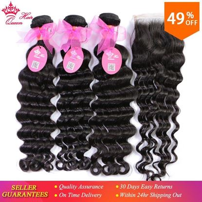 Picture of Queen Hair Products Brazilian Natural Wave Lace Closure Remy Weft Hair Weave 3 Bundles Human Hair Bundles With Closure 4pcs/lot