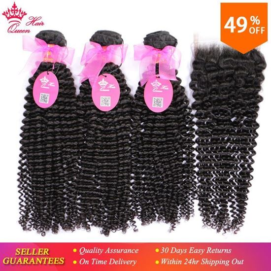 Picture of Queen Hair Products 100% Brazilian Human Hair Bundles With Closure Kinky Curly Natural Color 3 Bundles With 4x4 Lace Closure