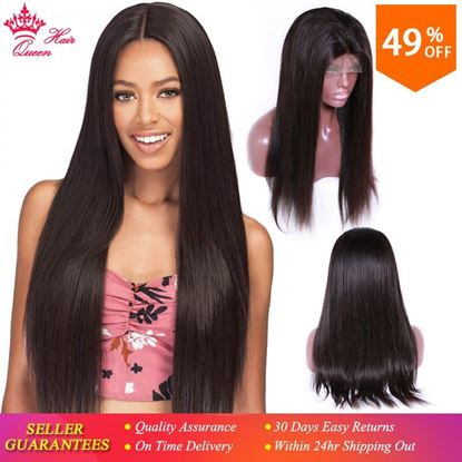 Photo de Queen Hair Lace Front Human Hair Wigs For Black Women Pre Plucked 130% Density Brazilian Hair Natural Straight Wig Remy Glueless
