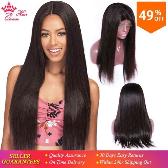 Picture of Queen Hair Lace Front Human Hair Wigs For Black Women Pre Plucked 130% Density Brazilian Hair Natural Straight Wig Remy Glueless