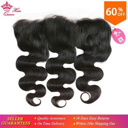 Picture of Queen Hair Products Body Wave Transparent Lace Frontal Closure 13x4 Brazilian Virgin Hair Natural Color 100% Human Hair