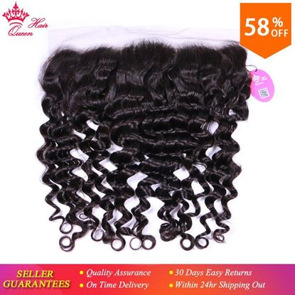 "Photo de Queen Hair Product Swiss Lace Frontal Closure Ear to Ear 13""x4"" Brazilian Virgin Hair Natural Wave 100% Human Hair Natural Color"