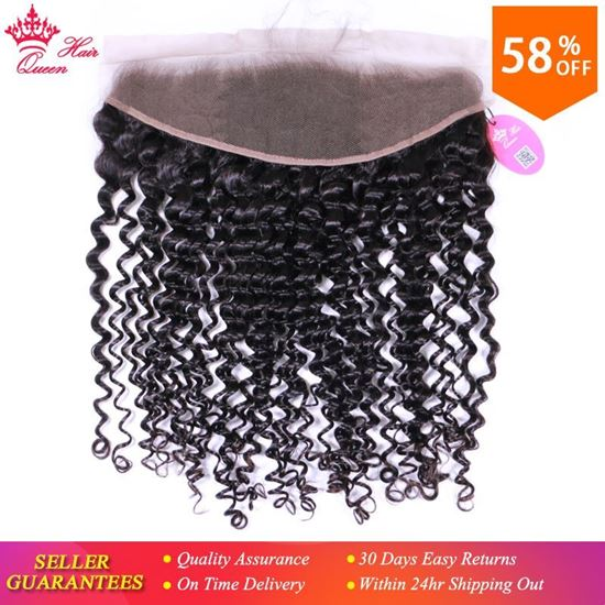 """Picture of Queen Hair Products Deep Curly wave Brazilian Virgin Human Hair Lace Frontal Closure 13""""x4"""" ear to ear 10""""-20"""" Natural Color 1B"""