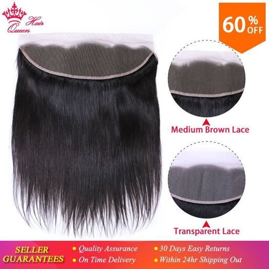 Picture of Queen Hair Products Brazilian Virgin Straight 13x4 Transparent Lace Frontal Closure 100% Human Hair Medium Brown Swiss Lace