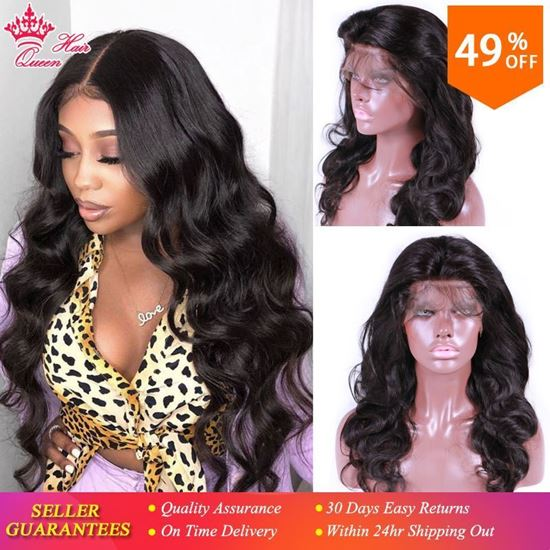 Picture of Queen Hair Products Body Wave Lace Front Human Hair Wigs Pre-plucked 100% Human Hair Frontal Wigs Natural Color For Black Women