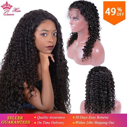 Photo de Queen Hair Products Deep Wave Lace Front Wigs Brazilian Human Hair Pre Plucked Lace Frontal Wig Natural Color For Black Women