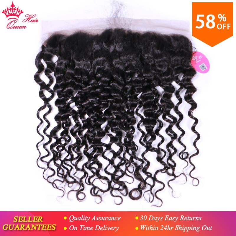 Picture of Queen Hair Brazilian Water Wave 13*4 Ear To Ear Lace Frontal Closure Virgin Hair Weave Bundles 100% Human Hair Shipping Free