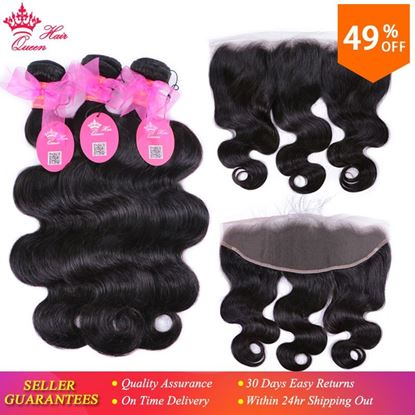 Picture of 100% Brazilian Human Hair Body Wave 3 Bundles Weaves With Lace Frontal Human Hair Remy weaving Queen Hair Products Free Shipping