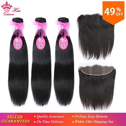 Photo de Queen Hair Brazilian Straight Hair Weave 3Bundles With 1 Piece Lace Frontal Closure Virgin Human Hair Bundles Deal Free Shipping