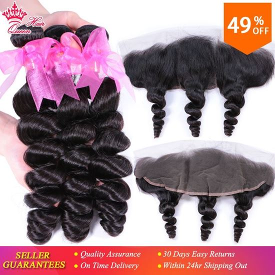 Picture of Queen Hair Products 3 Bundles Human Hair with Brazilian Loose Wave Closure Ear To Ear Lace Frontal 13x4 Remy Hair Natural Color