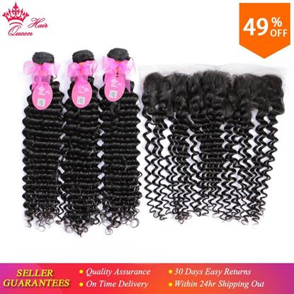 Picture of Queen Hair Products 100% Human Hair 3 Bundles with Lace Closure Brazilian Deep Wave Bundles with Frontal Closure Remy Hair 4pcs