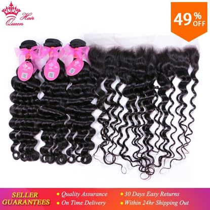 Photo de Queen Hair Lace Frontal Closure With Bundles Brazilian Natural Wave More Wave Human Hair Bundles With Lace Closure Remy