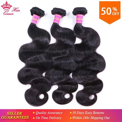 Photo de Queen Hair Products Brazilian Virgin Hair Body Wave 3pcs/lot Wefts 100% Human Hair Bundles Deal Natural Color Free Shipping