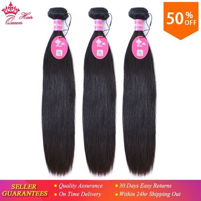 "Photo de Queen Hair Products Brazilian Virgin Hair Straight Human Hair Bundles 100% Unprocessed 3pcs Hair Extensions 8""-28"" Free Shipping"