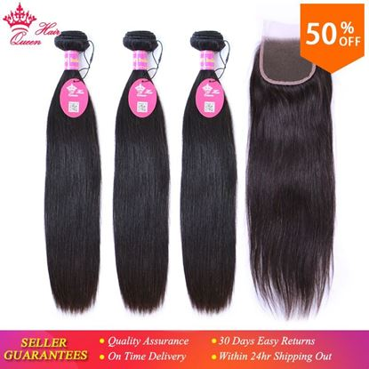 Picture of Queen Hair Products Virgin Brazilian Straight 3 Bundles With Closure Natural Color 100% Human Hair Lace Closure Free Shipping