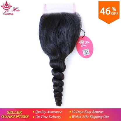 Photo de Queen Hair Products Brazilian Virgin Hair Swiss Lace Closure Loose Wave 100% Human Hair 4X4 Free Shipping