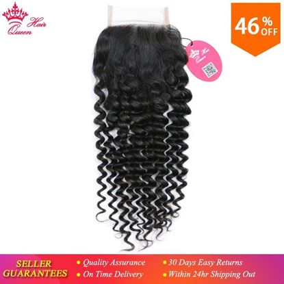 "Photo de Queen Hair Products Brazilian Virgin Hair Deep Wave 4x4 Swiss Lace Closure 10""-20"" Natural Color 100% Human Hair Free Part"