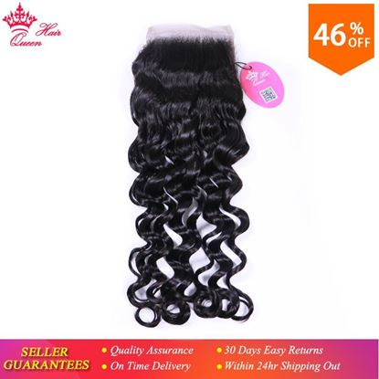 "Picture of Queen Hair Products Natural Wave Brazilian Virgin Hair 4x4 Lace Closure 10""-18"" Natural Color 100% Human Hair Free Shipping"