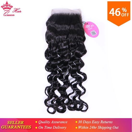 """Picture of Queen Hair Products Natural Wave Brazilian Virgin Hair 4x4 Lace Closure 10""""-18"""" Natural Color 100% Human Hair Free Shipping"""