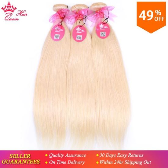 """Picture of Queen Hair Products Brazilian Human Hair Weft Straight Bleach Blonde Color #613 Hair 12""""-20"""" Remy Hair Extensions Free Shipping"""