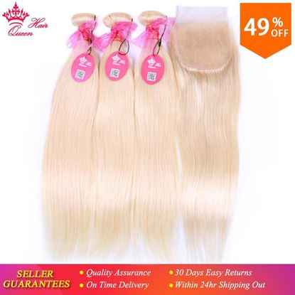 Picture of Queen Hair Products #613 Blonde Brazilian Human Hair Weave Bundles with Closure Straight Bundles with Lace Closure 4pcs/lot