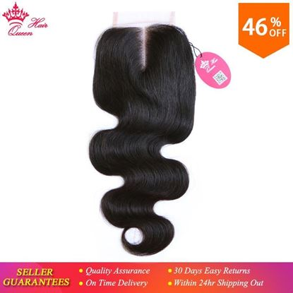 Photo de Queen Hair Products Swiss Lace Closure 4x4 Brazilian Virgin Human Hair Middle Part Body Wave 130% density Free Shipping