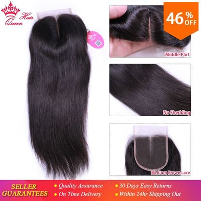 Picture of Queen Hair Products Brazilian Virgin Hair Closure 4x4 Middle Part Straight Natural Color 1B Swiss Lace Fast Free Shipping