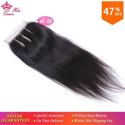Picture of Queen Hair Products Lace Closure Brazilian Straight Virgin Human Hair Natural Color 4x4 Three Part Top Swiss Shipping Free