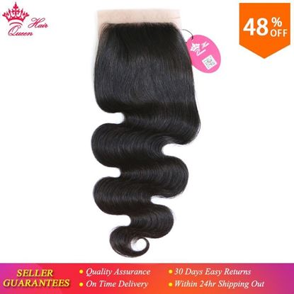 Picture of Queen Hair Products Free Part Silk Base Closure Brazilian Virgin Hair Body Wave 100% Human Hair Natural color
