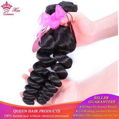 Photo de 100% Human Hair Brazilian Loose Wave Bundles 1/3/4 Natural Color #1B Remy Weave Fast Shipping Queen Hair Products Double weft